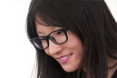 Chinese woman wearing glasses Royalty Free Stock Photo