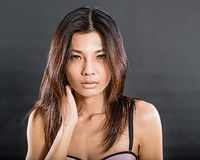 Chinese woman wearing lingerie Royalty Free Stock Images