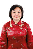 Chinese Woman wearing red traditional suit Royalty Free Stock Photo