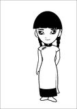 Chinese Women Cartoon Royalty Free Stock Photo