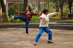 Chinese women doing tai chi in the park Stock Photography