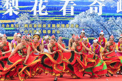 Chinese women dressed with traditional clothing dancing and singing during the Heqing Qifeng Pear Flower festival Stock Photos