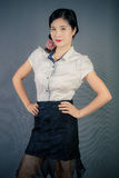 Chinese women. Modern Chinese woman also pay attention to the style to show their own style Royalty Free Stock Photos
