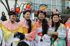 Chinese women during 2015 new year in Paris Stock Photo