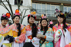 Chinese women during 2015 new year in Paris Stock Image
