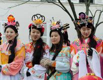Chinese women during 2015 new year in Paris Stock Photos