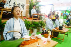 Chinese women perform in Zen tea Royalty Free Stock Photography