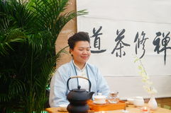 Chinese women perform in Zen tea Stock Photography