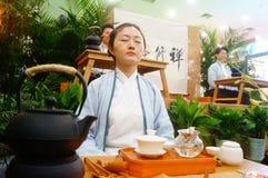 Chinese women perform in Zen tea Stock Images