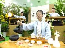Chinese women performing tea art Royalty Free Stock Image