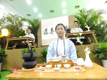 Chinese women performing tea art Stock Images