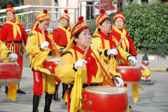Chinese women playing drum and gong Royalty Free Stock Image