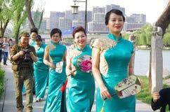 Chinese women in qipao Stock Photo