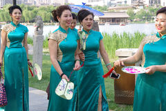 Chinese women in qipao Stock Photo