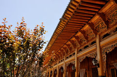 Chinese wood carving building Stock Image
