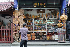 Chinese wood carving products store Stock Image