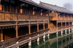 Chinese wood structure building by water Stock Photo