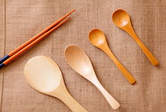 Chinese wood tableware Royalty Free Stock Photos