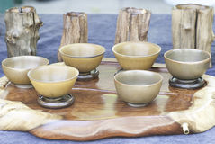 The Chinese wood tea cup Stock Image
