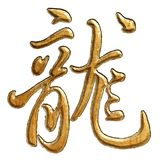 Chinese Woodcut calligraphy. Chinese Traditional woodcut calligraphy: Dragon(chinese pinyin: long) isolated on white Stock Image