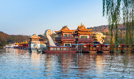 Chinese wooden boats, West Lake, Hangzhou, China Stock Photos