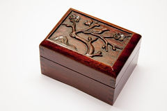 Chinese wooden box with relief on the lid Stock Photography
