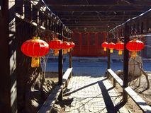 Chinese wooden corridor Royalty Free Stock Images