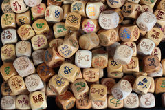 Chinese wooden dice. Naughty chinese wooden dice assortment Stock Images