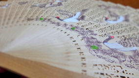 Chinese wooden  fan with bird painting Royalty Free Stock Images