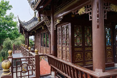 Chinese wooden gazebo in ancients Royalty Free Stock Image