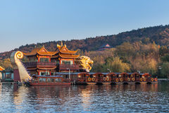 Chinese wooden pleasure boats, West Lake, Hangzhou Royalty Free Stock Photo