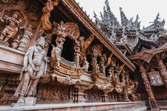 Chinese Wooden Sculpture Detail of Sanctuary of The Truth at Pattaya. Chonburi Province, Thailand stock image