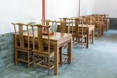 Chinese wooden tables and chairs interior Royalty Free Stock Photos