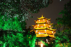Chinese wooden tower in Chengdu Royalty Free Stock Photos