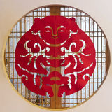 Chinese wooden window with paper-cut Royalty Free Stock Photography