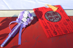 Chinese word wedding Red packets. And pen on table royalty free stock photos