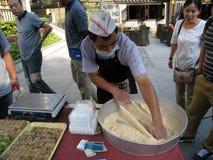 Chinese worker making Bosi sugar Royalty Free Stock Image