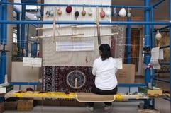 Chinese Worker, Weaving Silk Carpet Shanghai China stock image
