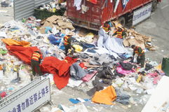 Chinese workers are cleaning up the garbage Stock Photo