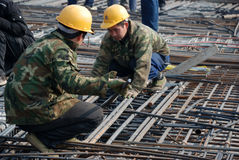 Chinese workers construct viaduct Stock Photography