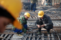 Chinese workers construct viaduct Stock Images