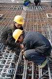 Chinese workers construct viaduct Royalty Free Stock Images