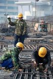 Chinese workers construct viaduct royalty free stock image