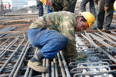Chinese workers construct viaduct. In Chengdu,China Royalty Free Stock Images