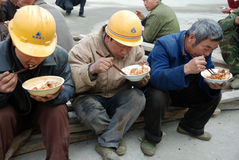 Chinese workers have lunch Stock Image