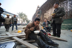 Chinese workers have lunch Stock Images