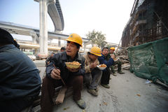 Chinese workers have lunch Royalty Free Stock Photo