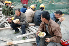 Chinese workers have lunch Stock Photography