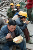 Chinese workers have lunch Stock Photo