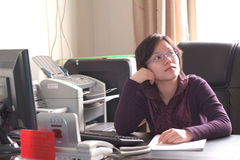 Chinese Working Woman royalty free stock photos